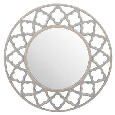 Quarterfoil Cut Out Designed Round Grey Painted Finish Wooden Mirror