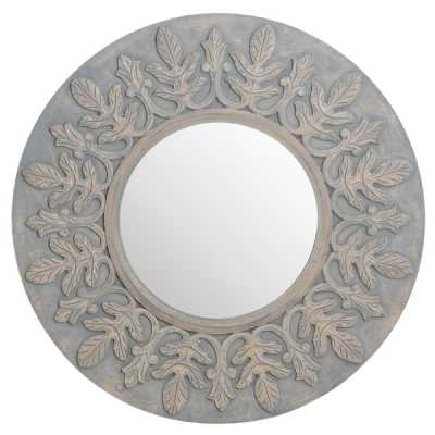 Grey Painted Wooden Fleur De Lis Round Hand Carved Wall Mirror Shabby Chic