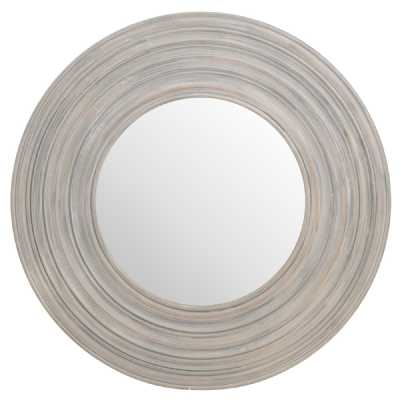 Grey Painted Wooden Round Shaped Ribbed Mirror Contemporary Style