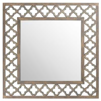 Quarterfoil Cut Out Grey Painted Square Mirror