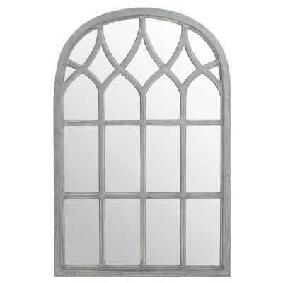 Distressed Arched Gothic Grey Painted Wooden Window Style Wall Mirror