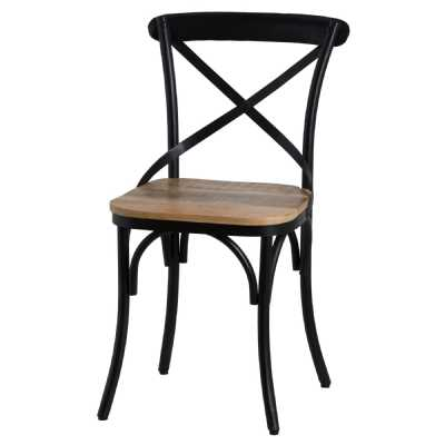 Cross Back Designed Industrial Black Metal Dining Chair With Hardwood Seat