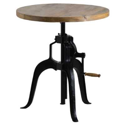 Industrial Rustic Draftsman Height Adjustable Crank Bar Bistro Small Table with Wooden Top