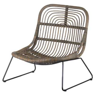 Grey Full Rattan Low Pod Chair On Metal Legs The Bali Collection Contemporary