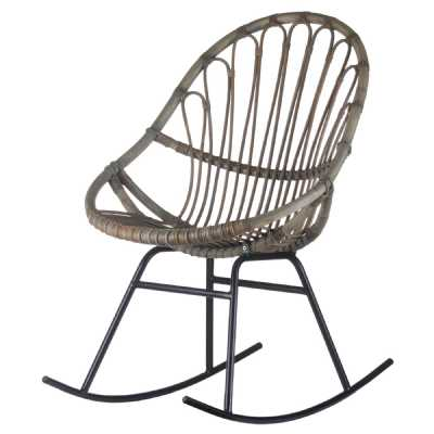 Full Rattan Grey Rocking Chair On Metal Legs The Bali Collection Contemporary