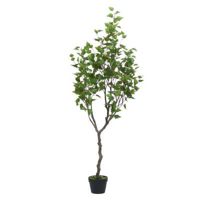 Artificial Indoor Outdoor Green Birch Tree Nearly Natural In Black Pot