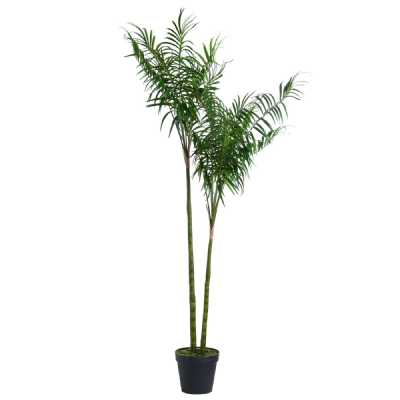Large Artificial Green Plastic Decorative Parlour Palm Tree In Black Planter