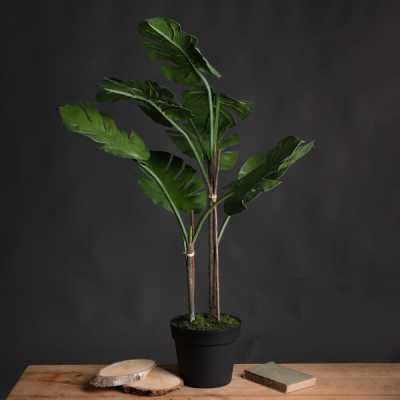 Large Monstera Artificial Plastic Green Cheese Plant in Black Pot
