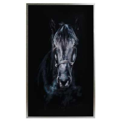 Large Rectangular Glass Wooden Silver Finish Framed Horse Image Wall Art