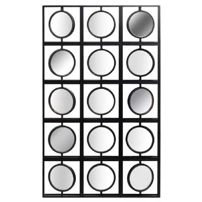 Black and Brass Retro Multi Directional Circles Rectangular Wall Mirror 110 x 66cm