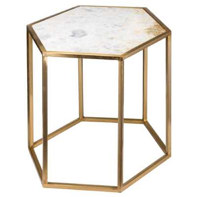 Hexagonal Antique Brass Gold Side Table with Marble Top