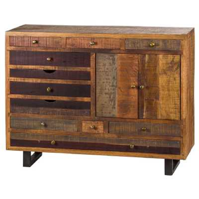 Multi Draw Reclaimed Wood Industrial Chest With Brass Handles