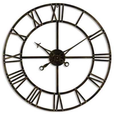 Antique Brass Roman Numerals Vintage Style Skeleton Wall Clock 80cm