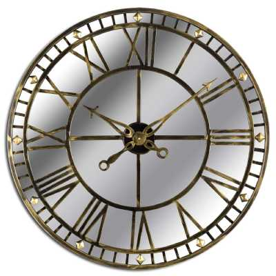 Large Round Antique Brass Mirrored Glass Skeleton Wall Clock 80cm Diameter