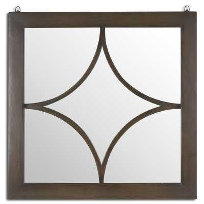 The Vinus Collection Brown Wood Mirrored Glass Square Wall Mirror