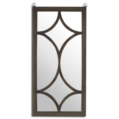 The Vinus Collection Brown Wood and Mirrored Glass Portrait Wall Mirror