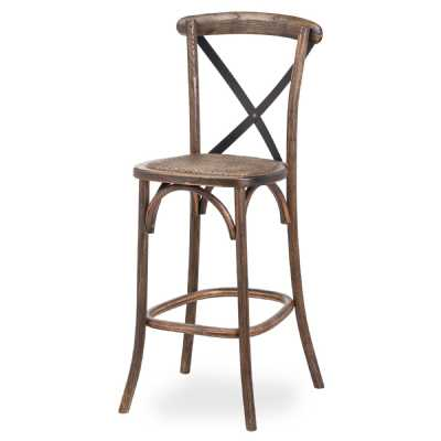 Oak Cross Back Bar Stool
