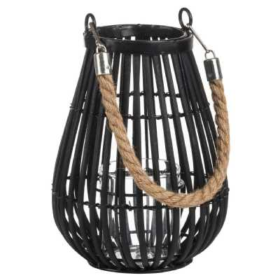Large Domed Rattan Lantern With Rope Detail