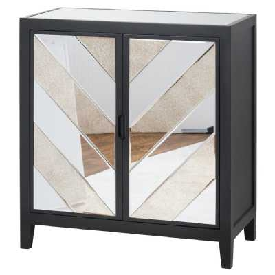 Soho Black Painted Collection Mirrored Glass Pine 2 Door Cabinet