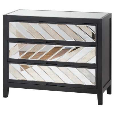 Soho Black Painted Collection Mirrored Glass Pine 3 Drawer Chest