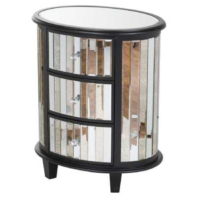 Soho Black Painted Collection Mirrored Glass Oval 3 Drawer Unit Bedside Cabinet