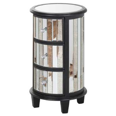 Soho Black Painted Pine Collection Mirrored Glass Circular 3 Drawer Unit Chest