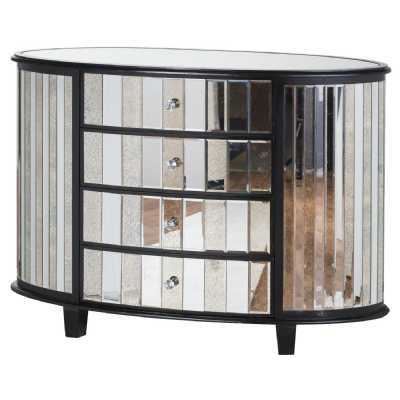 Soho Black Painted Collection Pine Mirrored Glass 4 Drawer Oval Chest