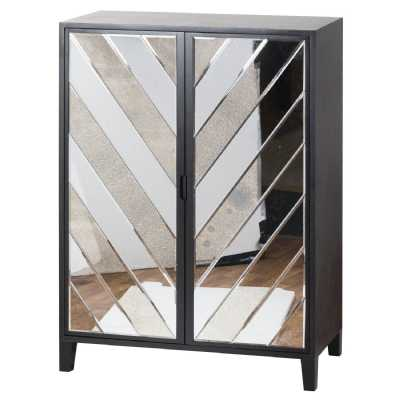 Soho Black Painted Collection Mirrored Glass Pine Large 2 Door Bar Cabinet