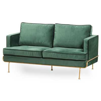 Arden Emerald Green Velvet Fabric Contemporary 2 Seater Sofa On Brass Metal Legs