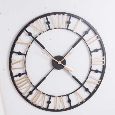 Black And Gold Roman Numerals Vintage Style Skeleton Wall Clock 95cm