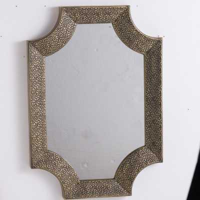 Ages Antique Bronze Detailed Hammered Iron Frame Mirrored Glass Wall Mirror