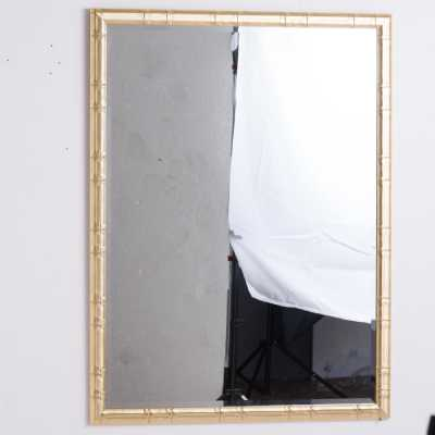 Soho Large Brass Wood Framed Mirrored Glass Rectangular Wall Mirror