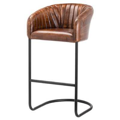 Billy Ribbed Brown Leather Industrial Bar Chair On Black Metal Stand