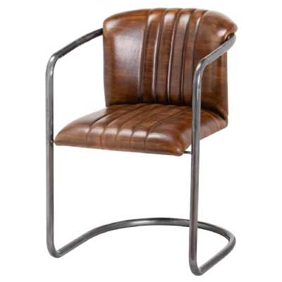 Billy Brown Ribbed Vertical Stiched Leather Metal Framed Bar Stool