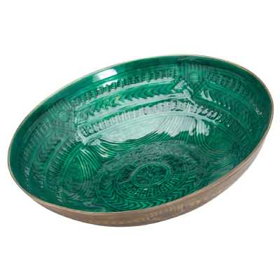 Aztec Collection Brass Embossed Metal Ceramic Green Large Bowl