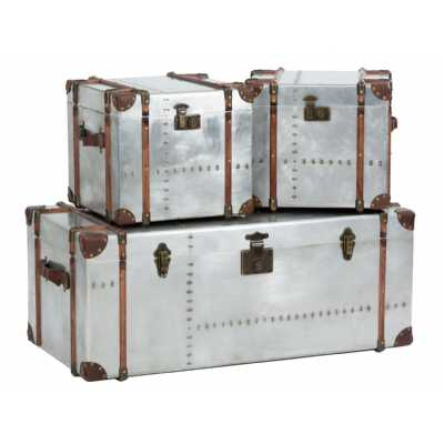 Industrial Bardem Set Of 3 Silver Trunks with Aluminium Sheeting