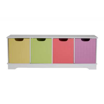 Childrens White 4 Coloured Storage Boxes Unit