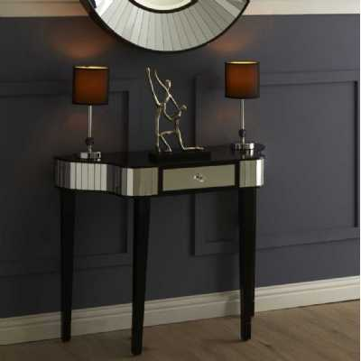 Modern Black Mirror Glass Clavier Console Hall Table with Drawer