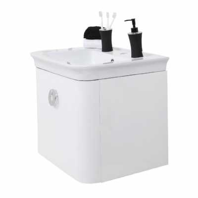 Adelphi White High Gloss Ceramic Basin And Under Basin Cabinet Set