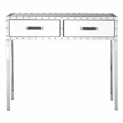 Industrial Charm Rivet Stainless Steel Framed 2 Drawer Console Table