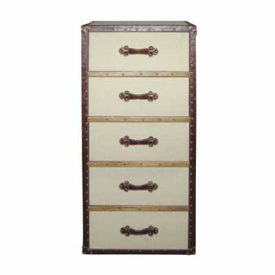 Tall 5 Drawer Cream Linen Cotton Chest Brown Leather Trim and Handles