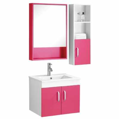 Beaumont Hot Pink Under Sink Bathroom Cabinet Mirrored Side Cabinet