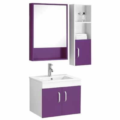 Purple White High Gloss Beaumont Under Sink Mirrored Bathroom Cabinet