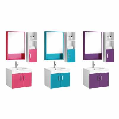 Turquoise White High Gloss Beaumont Sink Mirrored Bathroom Cabinet