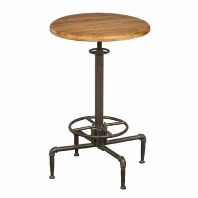 Foundry Metal Framed Round Height Adjustable Bar Table with Wooden Top
