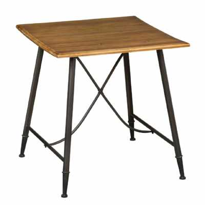 Metal Framed New Foundry Small Table with Fir Wood Top