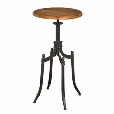 New Foundry Metal Framed Bar Table with Round Fir Wood Top