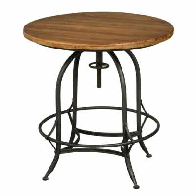 Hardwood Round Top New Foundry Table with Metal Frame