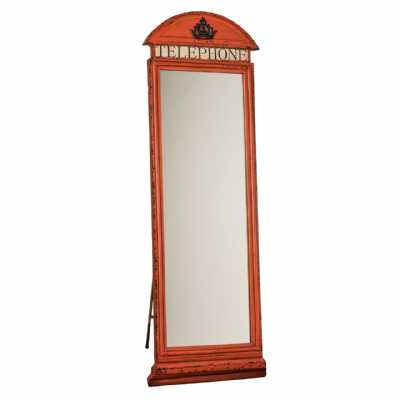 Large Tall Red Telephone Box Design Floorstanding Cheval Mirror
