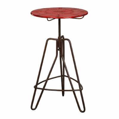 Artisan Metal Framed Adjustable Bar Table with Round Red Top